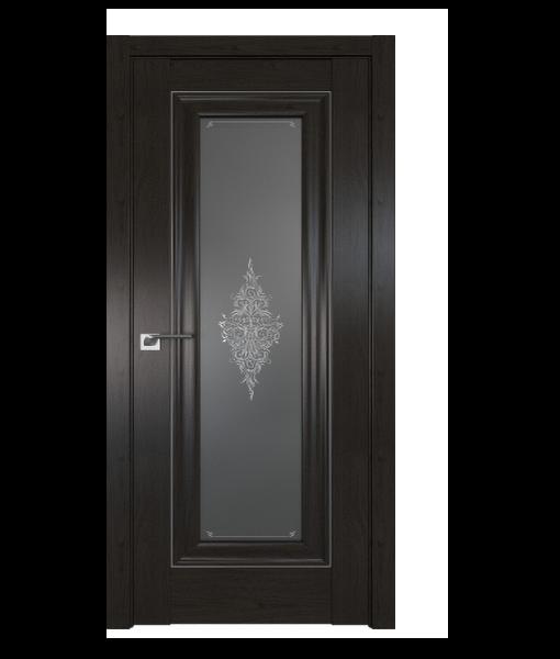 ДП 24X, цвет Пекан темный, стекло Кристалл графит, молдинг Серебро