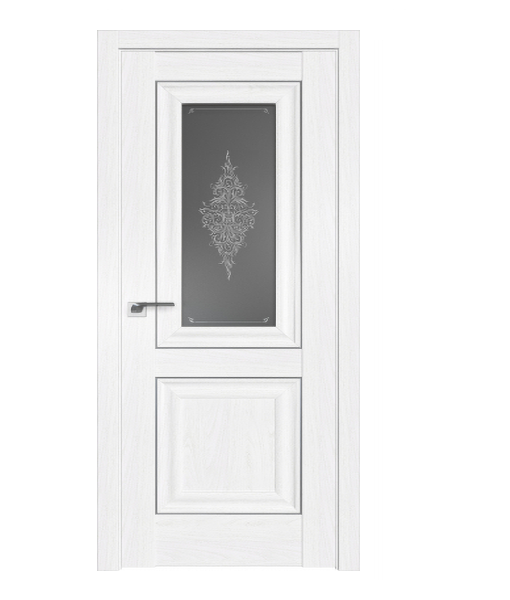 ДП 28X, цвет Пекан белый, стекло Кристалл графит, молдинг Серебро